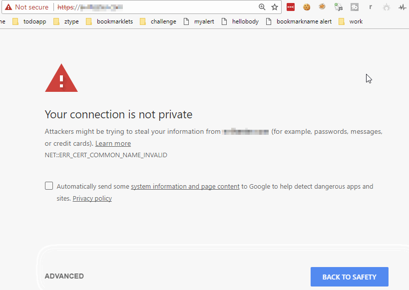 Page not displayed Not Secure Alert shown