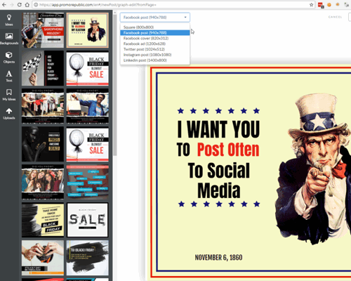 PromoRepublic built in image editor with many social media target sizes
